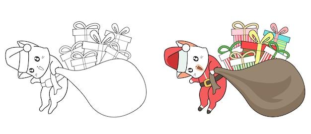 Gato do papai noel com presentes desenhos animados para colorir para crianças