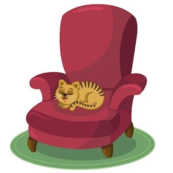 Gato doméstico está descansando na poltrona. ilustração vetorial