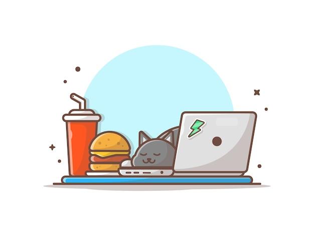 Gato dormindo no laptop com ilustração de hambúrguer e refrigerante