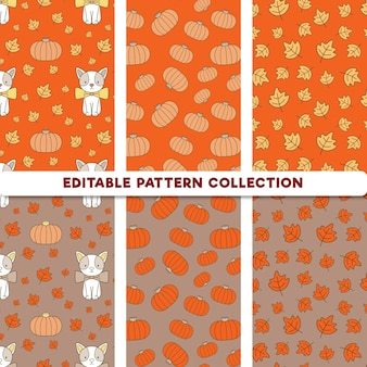 Gato dos desenhos animados editable autumn pattern collection