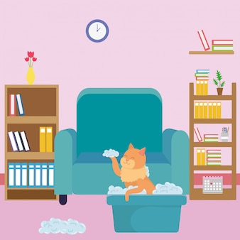 Gato dos desenhos animados em sala de estudo