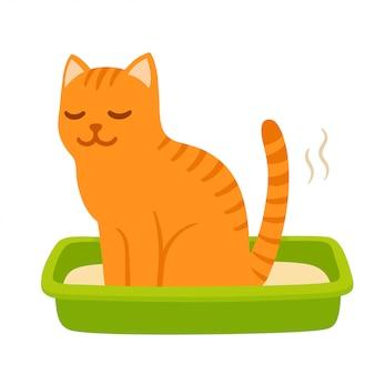Gato dos desenhos animados pooping