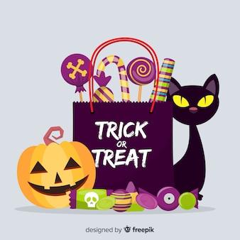 Gato e abóbora ao lado de um saco cheio de doces