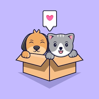 Gato e cachorro fofos em caixa de papelão