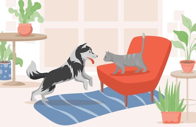 Gato e cachorro na ilustração plana da sala de estar.