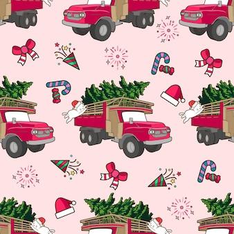 Gato e caminhão sem costura no padrão de dia de natal