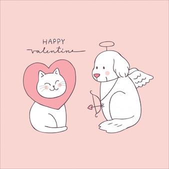 Gato e cão bonitos do dia dos valentim dos desenhos animados.