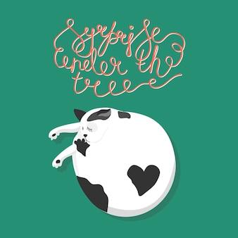 Gato e citação surpresa debaixo da árvore isolado em fundo azul mão escrita letras vetoriais