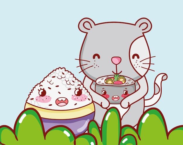 Gato e comida do japão kawaii