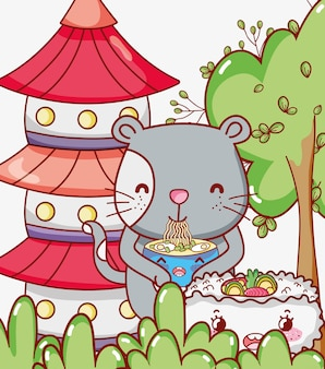 Gato e comida japonesa kawaii