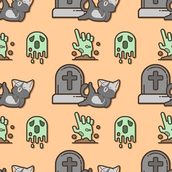 Gato e fantasma padrão sem emenda no dia do halloween