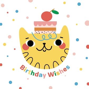 Gato e fundo de aniversário desenhada de mão