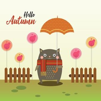Gato e guarda-chuva