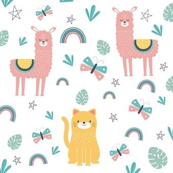 Gato e lhama dos desenhos animados desenho ilustração vetorial