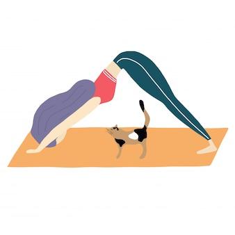 Gato e menina fazem yoga