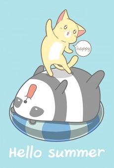Gato e panda nas férias de verão.
