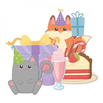 Gato e raposa em feliz aniversário