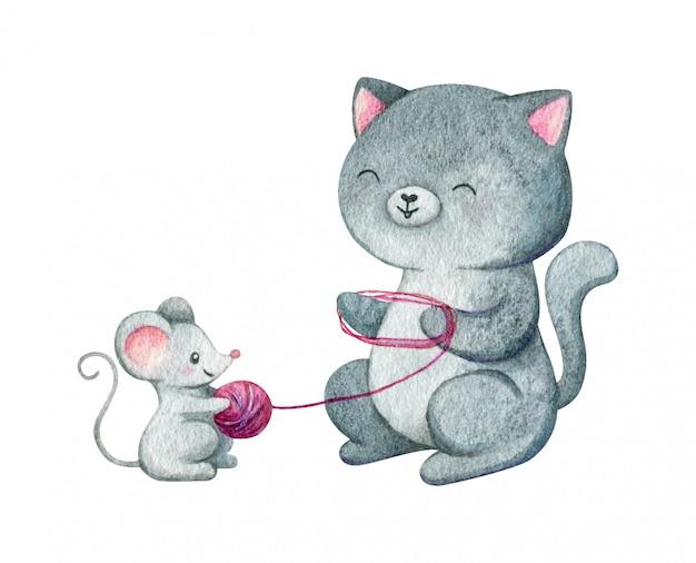 Gato e rato sentam-se juntos e seguram fios de lã. ilustração em aquarela de dois amigos isolada no fundo branco.