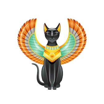 Gato egípcio. deusa bastet. gato preto com asas de escaravelho e colar de ouro. satuette do antigo egito art. desenho animado 3d ícone do design.