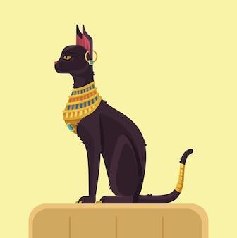 Gato egípcio. ilustração plana