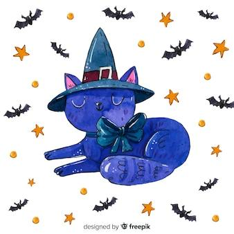 Gato em aquarela de halloween com morcegos e estrelas