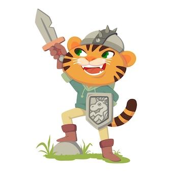 Gato em botas de personagem de conto de fadas. tigre com uma espada, escudo e capacete. gato fantasiado de guerreiro medieval, cavaleiro. ilustração isolado no fundo branco.