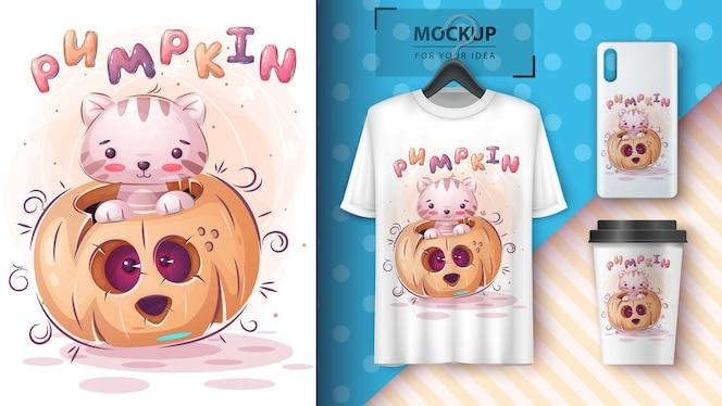 Gato em cartaz de abóbora e merchandising