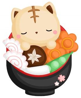 Gato em ramen japonês