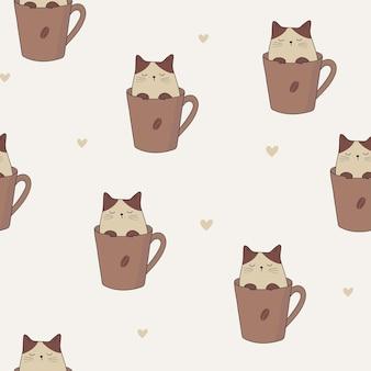 Gato em uma xícara de café padrão sem emenda gatinho adorável em uma xícara de café coração de gato fofo e café