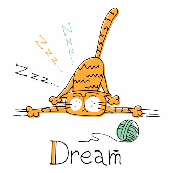 Gato engraçado dos desenhos animados dormindo. estilo bonito.
