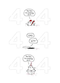 Gato engraçado dos desenhos animados na página 404