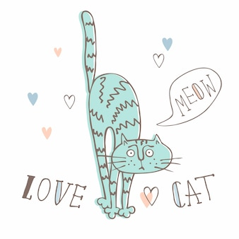 Gato engraçado em um estilo bonito. estilo dos desenhos animados.