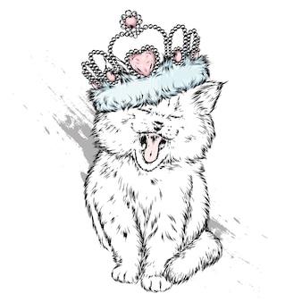 Gato engraçado em uma coroa