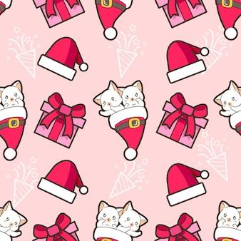 Gato engraçado sem costura com padrão de chapéu de natal