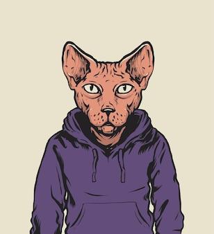 Gato esfinge com capuz e ilustração