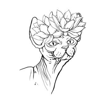 Gato esfinge com flores. livro de colorir para adultos. ilustração desenhada à mão. vetor