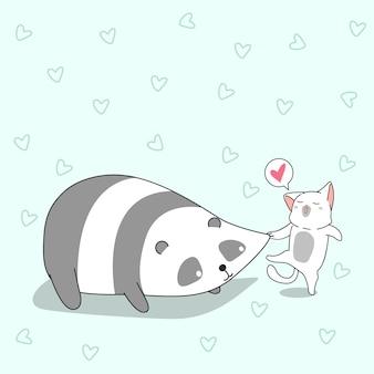 Gato está beliscando bochechas de panda.