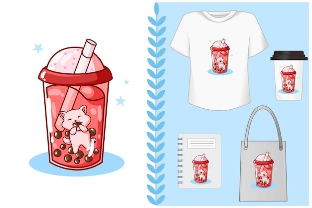 , gato está comendo refrigerante em uma bebida com sabor de veludo vermelho