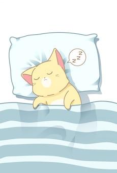 Gato está dormindo sob o cobertor.