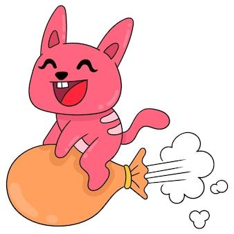 Gato está se divertindo embarcando em um balão para voar, arte de ilustração vetorial. imagem de ícone do doodle kawaii.