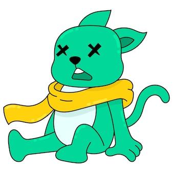 Gato está sentado inconsciente, arte de ilustração vetorial. imagem de ícone do doodle kawaii.