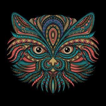 Gato estilizado em estilo étnico