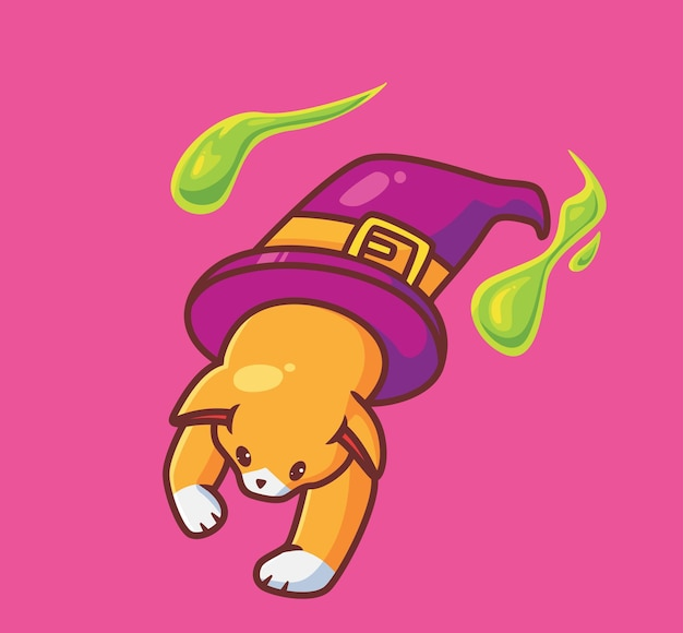 Gato feiticeiro fofo com um chapéu animal isolado dos desenhos animados ilustração do conceito de halloween estilo simples