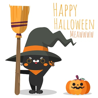 Gato feliz do dia das bruxas que guarda a vassoura e que veste o chapéu da bruxa.
