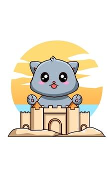 Gato feliz e engraçado com castelo de areia na ilustração dos desenhos animados de férias de verão
