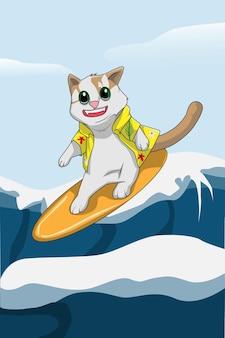 Gato feliz surfando na mão das ondas desenhando
