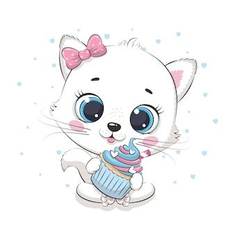 Gato fofinho com bolinho. ilustração para chá de bebê, cartão, convite para festa, impressão de t-shirt de roupas da moda.