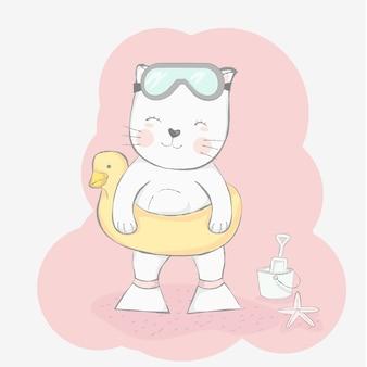 Gato fofinho com estilo de mão desenhada de anel de vida dos desenhos animados