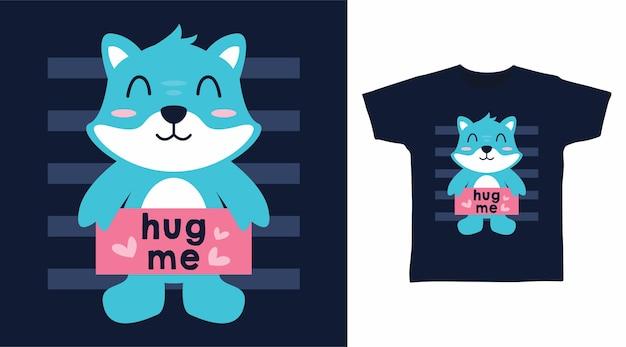 Gato fofo abraça-me design de camiseta