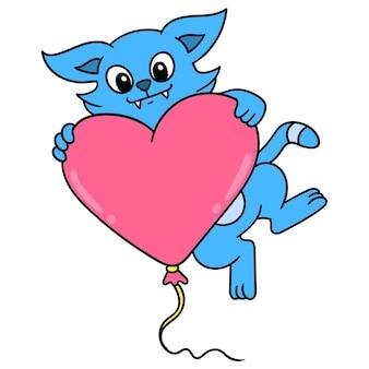 Gato fofo abraçando o balão em forma de celebração do amor dos namorados, doodle desenhar kawaii. arte de ilustração